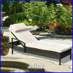 Outdoor Chaise Lounge Chair Wicker Rattan Furniture WithPillow Patio