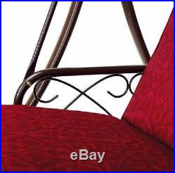 Outdoor Daybed Swing Canopy Red Porch Patio Pool Garden Backyard 3 Seats Deck