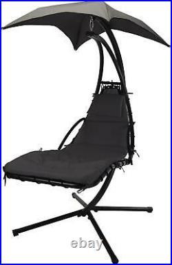 Outdoor Garden Helicopter Hanging Swing Hammock Lounger Egg Chair Sun Grey