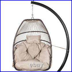 Outdoor Hanging Chair Wicker Resin Egg Porch Swing Lounger Cushion withSteel Frame