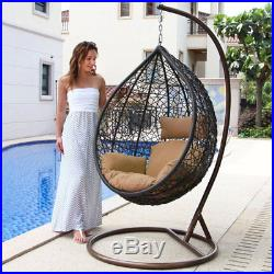 Outdoor Hanging Egg Chair Wicker Rattan Egg Chair Hanging Lounge Chair withCushion