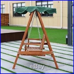 Outdoor Patio 2 People Bench Leisure Hammock Chair Canopy Wooden Swing Loveseat