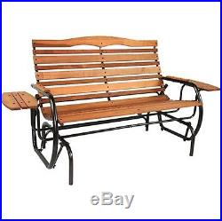 Outdoor Patio Double 2 Person Wood Glider Bench Porch Love