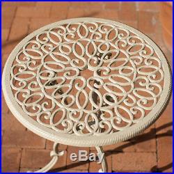 Outdoor Patio Furniture 3pc Elegant Design Sand Finish Cast Aluminum Bistro Set
