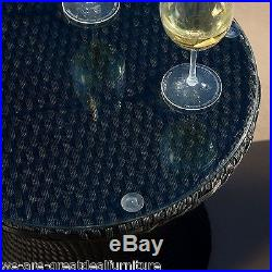Outdoor Patio Furniture 3pc Stacking Wicker Seating Chat Set