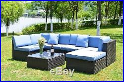 Outdoor Patio Furniture Couch 7 PCS Wicker Rattan Cushioned Sofa Sectional Set