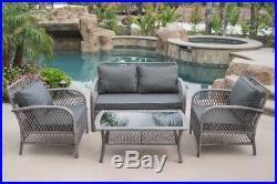 Outdoor Patio Furniture Grey PE Wicker 4pcs Luxury Sofa Seating Cushioned Set