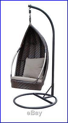 Outdoor Patio Hanging Egg Chair Swing Java Wicker Affordable 50% Off