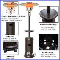 Outdoor Patio Heater Propane Standing LP Gas Steel WithTable & Wheels Bronze