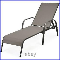 Outdoor Patio Lounge Chair Chaise Fabric Adjustable Reclining Armrest Pool Brown