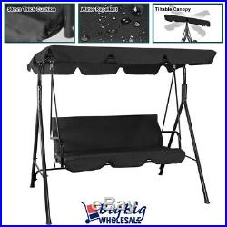 Outdoor Patio Porch Swing Canopy Chair Lounge Hammock 3-Person Seat Black