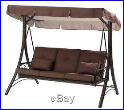 Outdoor Patio Swing Canopy Hammock 3 Person Backyard Furniture Yard Awning  Porch