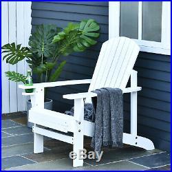 Outdoor Patio Wooden Adirondack Chair Lounge withCup Holder Deck Garden Furniture