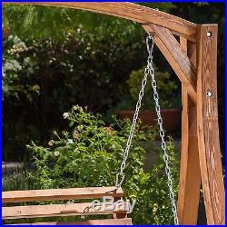 Outdoor Porch Swing Bench Loveseat Chair Stand furniture Garden Patio Deck Wood