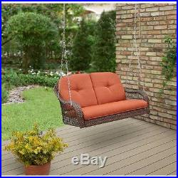 Outdoor Porch Swing Patio Hanging Furniture 2Person All-weather Wicker Deck Yard