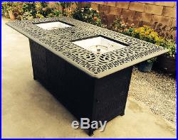 Outdoor Propane Fire Pit bar height double burner table Elisabeth aluminum patio
