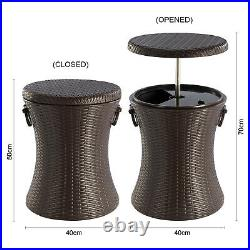 Outdoor Rattan Style Cool Bar Ice Cooler Table Garden Furniture Brown