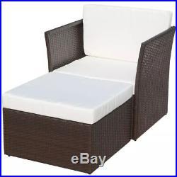 Outdoor Rattan Wicker Patio Sofa Chair Stool Set Garden Furniture Brown/Black