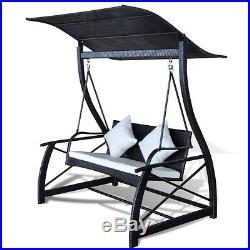 Outdoor Rattan Wicker Swing Seat Glider Hammock Chair Patio Backyard Porch Black