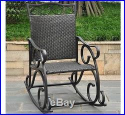 Outdoor Rocking Chair Resin Wicker Steel Frame Patio Deck Garden Porch Furniture