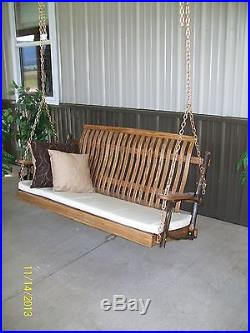Outdoor Rustic 4 Foot Hickory and Oak Porch Swing Walnut Stain- Amish Made USA