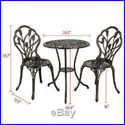 Outdoor Setting Cast Bistro Table Chair Vintage Patio 3pcs Bistro Set Bronze
