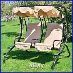 Outdoor Steel Swing Chair Double Hanging Garden Furniture Canopy Patio  Hammock