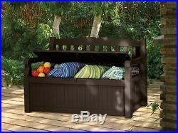 Outdoor Storage Bench Box Patio Deck Brown Pool Garden Yard Container Organizer