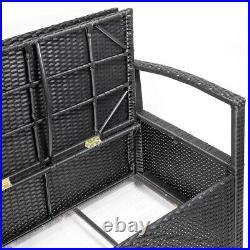 Outdoor Storage Bench Wicker Deck Box Pool Organizer Patio LoveSeat with Cushion