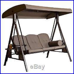 Outdoor Swing Patio Garden Backyard Metal Furniture Canopy 2 Seat Hanging  Bench