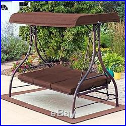 outdoor swing seats 3 patio garden furniture hammock yard living brown bench