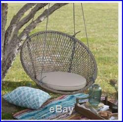 Outdoor Tree Swing Chair Patio Garden Wicker Hanging Porch Backyrd Gray Seat