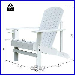 Outdoor Wood Adirondack Chair Patio Chaise Lounge Deck Reclined Bench Cup White