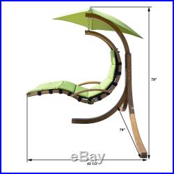 Outdoor Wooden Hanging Chaise Lounger Arc Stand Hammock Swing Chair Canopy