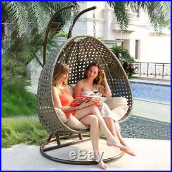 Outdoor XL 2 Person Porch Rattan Egg Wicker Hanging Swing Chair with Cover & Stand