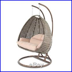 Outdoor XL 2 Person Wicker Swing Chair with Stand Hanging Egg Chair with Free Cover
