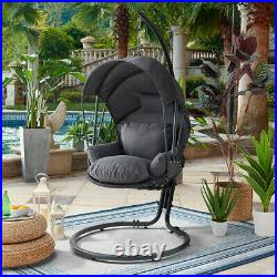 Outdoor X-Large Hanging Swing Lounge Chair Deep Seat Canopy with Stand Grey
