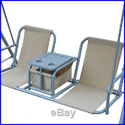 Outsunny 2-Person Outdoor Patio Porch Swing Double Seat with Canopy & Stand