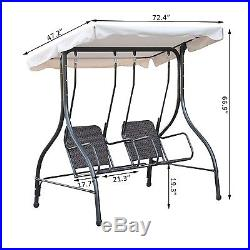 Outsunny 2 Person Swing Bench Outdoor Garden Wicker Seat Adjustable Tilt Canopy