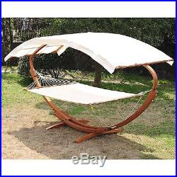 Outsunny 2 Person Wood Swing Arc Hammock Bed and Stand Set with Canopy White