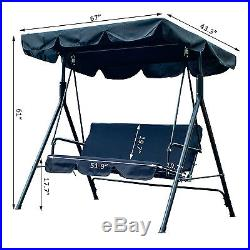 Outsunny 3 Person Swing Chair Outdoor Covered Hammock Patio Awning Canopy Black