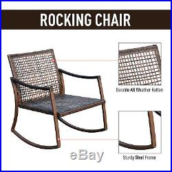 Outsunny 3 Piece Outdoor Outdoor PE Rattan Wicker Patio Rocking Chair Set