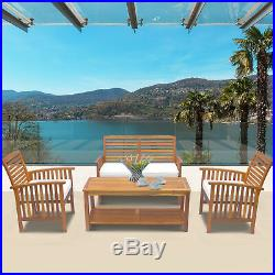 Outsunny 4 Piece Acacia Wood Outdoor Conversation Set Patio Furniture Loveseat