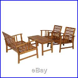 Outsunny 4 Piece Solid Acacia Wood Outdoor Patio Furniture Chat Set withCushions