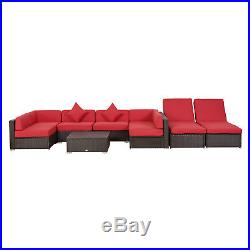 Outsunny 9PC Aluminum Outdoor Patio Rattan Wicker Sofa Sectional Furniture