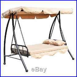 Outsunny Outdoor Swing Chair Bed 2 in 1 withCushion Pillow Canopy Steel Furniture