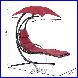Outsunny Outdoor Wood Hanging Lounger Hammock Chair Porch Swing Seat Canopy
