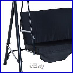 Outsunny Patio Hammock 3 Seater Swing Chair Porch Glider Patio Black