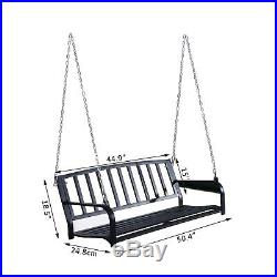 Outsuny Porch Swing Steel 2 Person Seating Heavy Duty Black Vintage Furniture