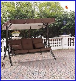 PORCH SWING Outdoor Patio Converting Hammock Seats 3 Mainstays Ridge Steel  Brown